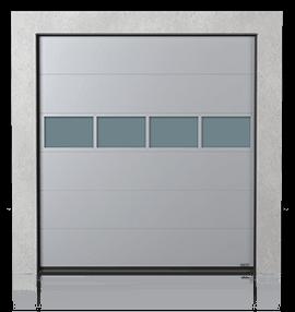 Промислові сталеві секційні ворота з алюмінієвою скляною панеллю