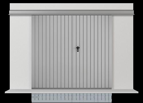 Підвісні відкатні ворота з обшивкою з розташованого вертикально профільного листа Т-10