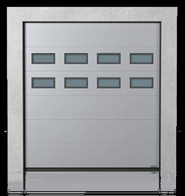 Промислові сталеві секційні ворота з віконцями A-1 x2