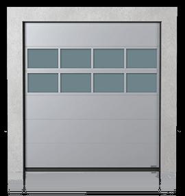 Промислові сталеві секційні ворота з алюмінієвою скляною панеллю х2