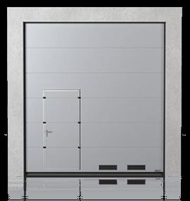 Промислові сталеві секційні ворота з прохідними пересувними дверима та з вентиляційними решітками K-1 зправа