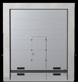 Промислові сталеві секційні ворота з прохідними дверима та з вентиляційними решітками K-1