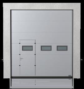 Промислові сталеві секційні ворота з прохідними пересувними дверима та з віконцями A-1 зправа