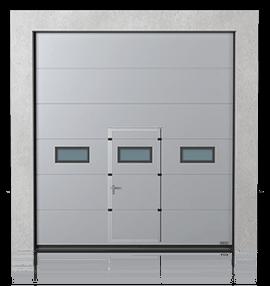 Промислові сталеві секційні ворота з прохідними дверима та з віконцями A-1