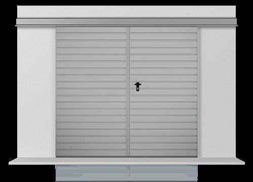 Підвісні відкатні двостулкові ворота з обшивкою з горизонтально розташованого профільного листа Т-10