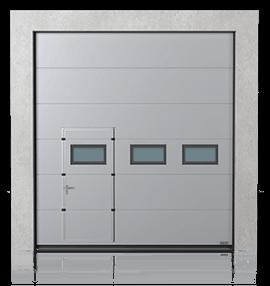 Промислові сталеві секційні ворота з прохідними пересувними дверима та з віконцями A-2 зправа