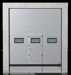 Промислові сталеві секційні ворота з прохідними дверима та з віконцями A-2