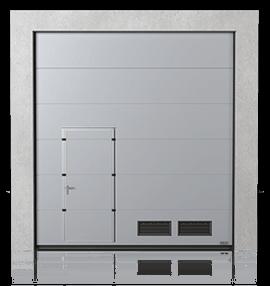 Промислові сталеві секційні ворота з прохідними пересувними дверима та з вентиляційними решітками K-2 зправа