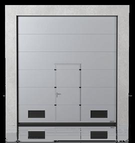 Промислові сталеві секційні ворота з прохідними дверима та з вентиляційними решітками K-2