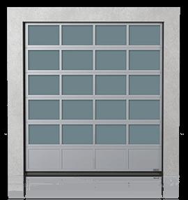 Алюмінієві промислові секційні ворота з нижньою повною алюмінієвою панеллю