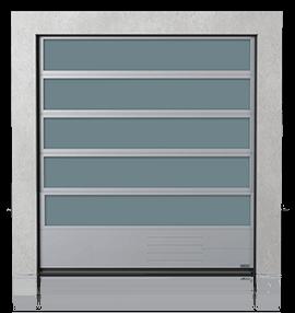 Алюмінієві промислові секційні ворота з склінням VISUAL та з нижньою сталевою панеллю G, V, N, W