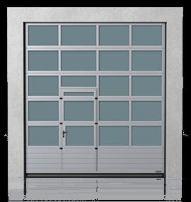 Алюмінієві промислові секційні ворота з нижньою повною сталевою панеллю та з прохідними пересувними дверима