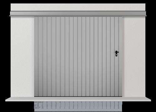 Підвісні відкатні одностулкові ворота з обшивкою з розташованого вертикально профільного листа Т-10