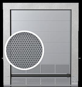 Промислові сталеві секційні ворота з вентиляційною нижньою панеллю (з перфорованим листом)