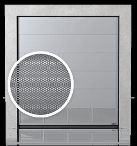 Промислові сталеві секційні ворота з вентиляційною нижньою панеллю (з просічно-витяжною сіткою)