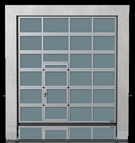 Алюмінієві промислові секційні ворота з прохідними пересувними дверима