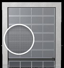 Алюмінієві промислові секційні ворота з вентиляційними панелями (з просічно-витяжною сіткою)