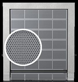 Алюмінієві промислові секційні ворота з вентиляційними панелями (з перфорованим листом)