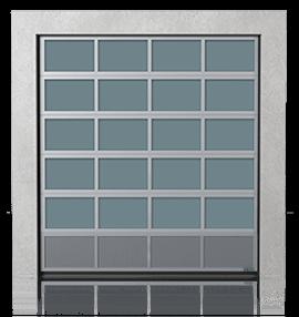 Алюмінієві промислові секційні ворота з вентиляційною нижньою панеллю (з просічно-витяжною сіткою)