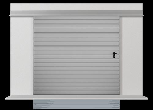 Підвісні відкатні одностулкові ворота з обшивкою з розташованого горизонтально профільного листа Т-10