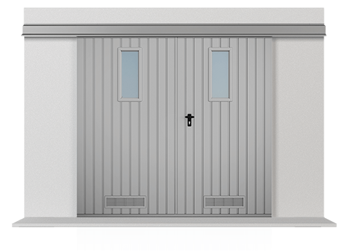 Підвісні відкатні двостулкові ворота з обшивкою з вертикально розташованого профільного листа Т-10, ворота з вертикально розташованими віконцями і вентиляційною сіткою