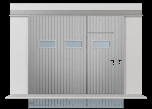 Підвісні відкатні одностулкові ворота з обшивкою з розташованого вертикально профільного листа Т-10, ворота з прохідної дверима і горизонтально розташованими віконцями