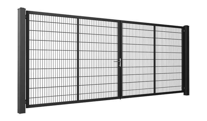 В'їзні ворота та хвіртки системи Gardia wisniowski. Ворота заповнені решітчастою панеллю Vega 2D