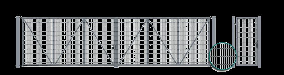 Двостулкові ворота з заповненням в формі ґратчастих панелей VEGA 2D Super, пригвинчених до конструкції та Хвіртка з заповненням в формі ґратчастих панелей VEGA 2D Super, пригвинчених до конструкції