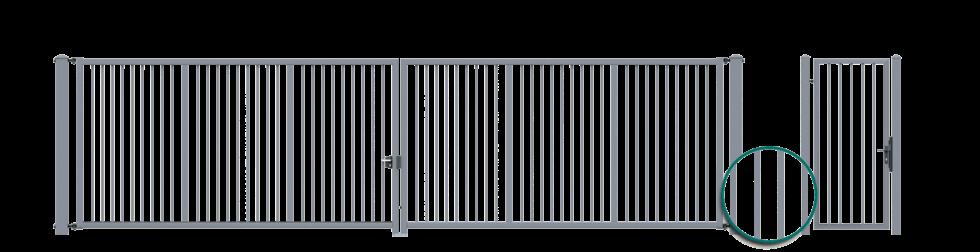 Двостулкові ворота з заповненням в формі профілів 25 х 25 мм, приварених до конструкції та Хвіртка з заповненням у формі суцільних профілів 25 х 25 мм, приварених до конструкції