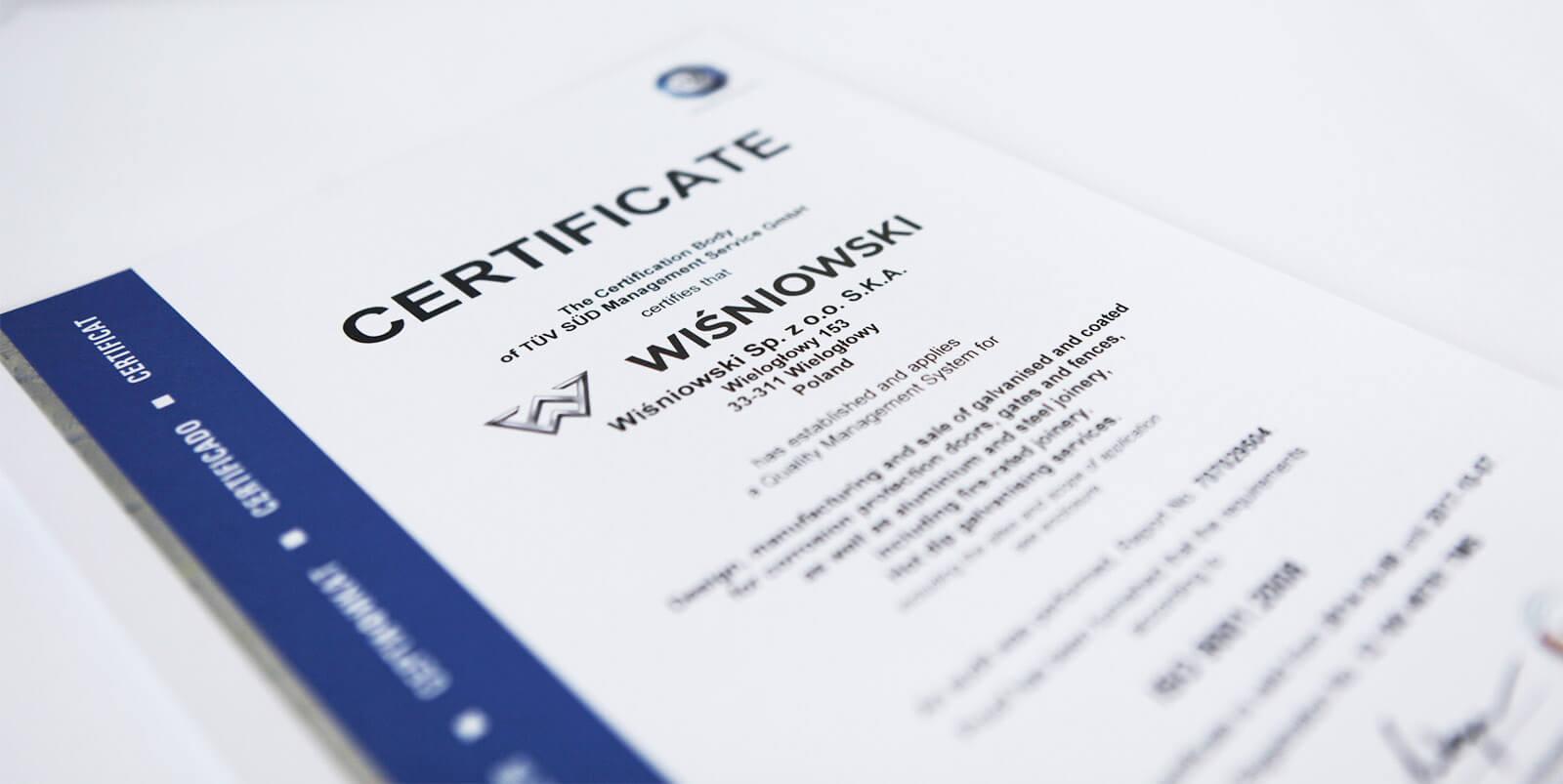 Сертифікати wisniowski