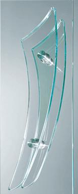 Внутрішні повністю скляні двері wisniowski. Скляна ручка-поручень 03