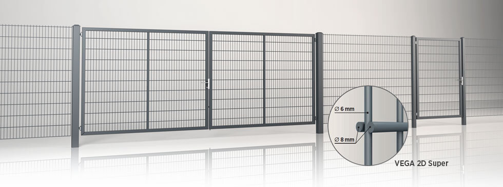 Системна огорожа з двостулковими воротами та хвірткою GARDIA із заповненням решітчастою панеллю Vega 2D Super