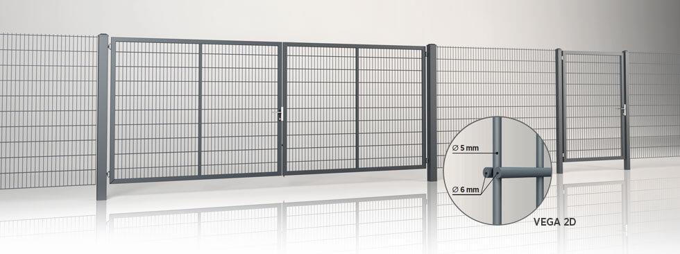 Системна огорожа з двостулковими воротами та хвірткою GARDIA із заповненням решітчастою панеллю Vega 2D