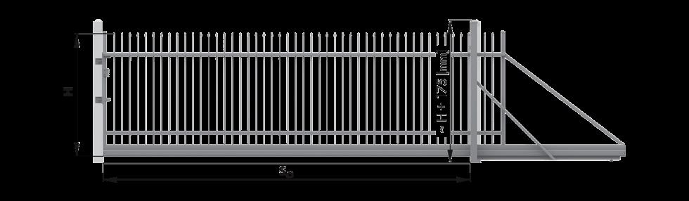 Монтажні розміри та їх позначення відкатних воріт wisniowski для огорожі
