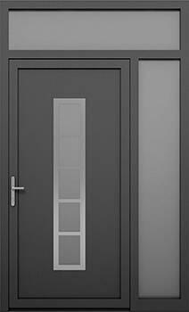 Алюмінієві зовнішні двері Deco wisniowski. Права фрамуга + верхня фрамуга (PD+GD)