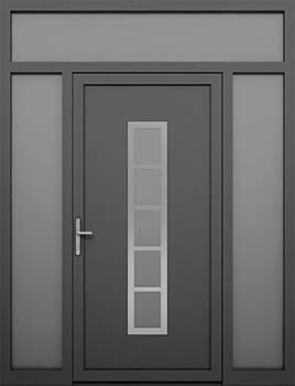 Алюмінієві зовнішні двері Deco wisniowski. Права + ліва + верхня фрамуга (PD+LD+GD)