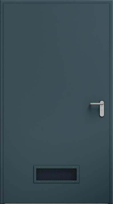 Суцільні сталеві двері wisniowski. Двері ECO, вентиляційна решітка 425×125 мм | RAL 7016