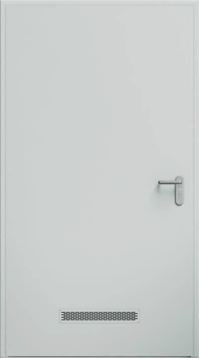 Суцільні сталеві двері wisniowski. Двері ECO BASIC, вентиляційна решітка 480×80 мм | RAL 7035