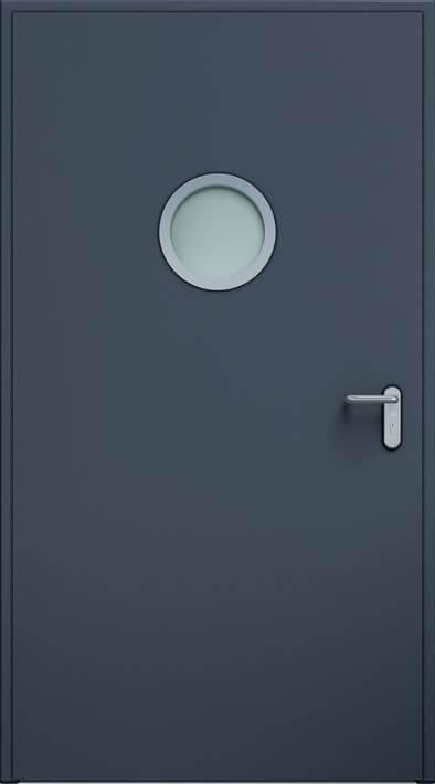 Суцільні сталеві двері wisniowski. Двері ECO BASIC, ілюмінатор 32 мм | Антрацит