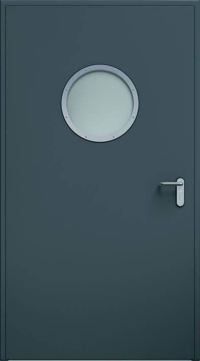 Суцільні сталеві двері wisniowski. Двері ECO, ілюмінатор | RAL 7016