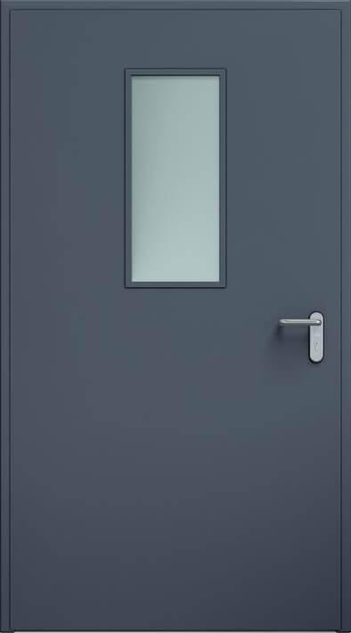 Суцільні сталеві двері wisniowski. Двері ECO, скління 300×700 мм | Антрацит