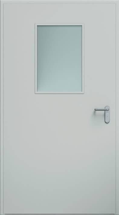 Суцільні сталеві двері wisniowski. Двері ECO, скління 450×660 мм | RAL 7035