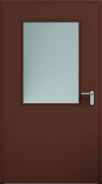 Суцільні сталеві двері wisniowski. Двері ECO, скління 650×950 мм | RAL 8017
