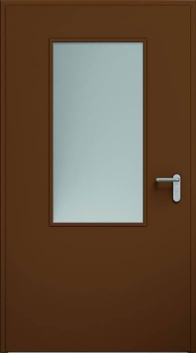 Суцільні сталеві двері wisniowski. Двері ECO, скління 550×1100 мм | RAL 8014