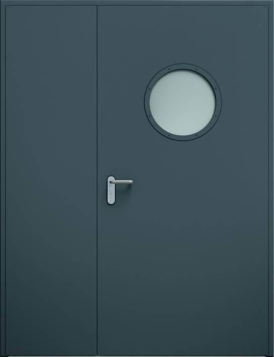 Суцільні сталеві двері wisniowski. Двостулкові несиметричні двері ECO, ілюмінатор | RAL 7016