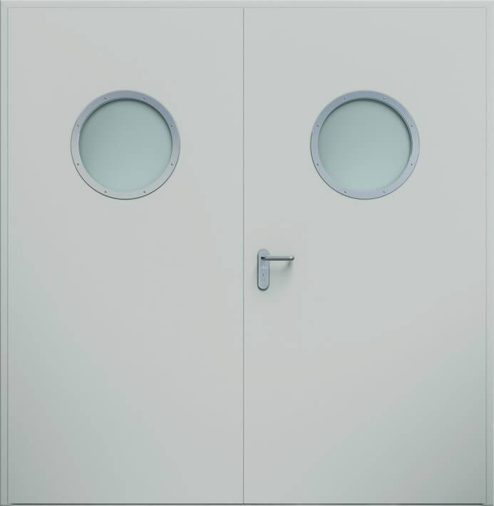 Суцільні сталеві двері wisniowski. Двостулкові двері ECO, ілюмінатор | RAL 7035