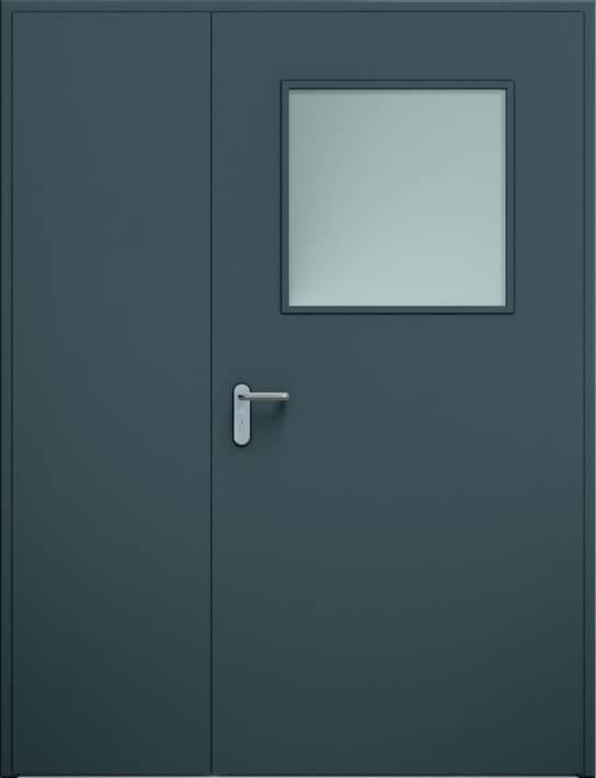 Суцільні сталеві двері wisniowski. Двостулкові несиметричні двері ECO, скління | RAL 7016