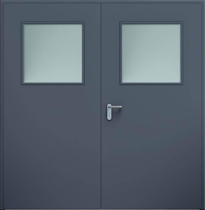 Суцільні сталеві двері wisniowski. Двостулкові двері ECO, скління | Антрацит