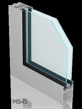 Алюмінієві внутрішні вікна ALUPROF MB45 wisniowski для промислових об'єктів
