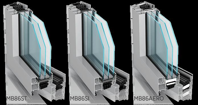 Алюмінієві зовнішні вікна MB86ST, MB86SI, MB86AERO